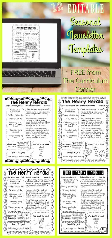 Editable Seasonal Newsletter Templates The Curriculum Corner 123