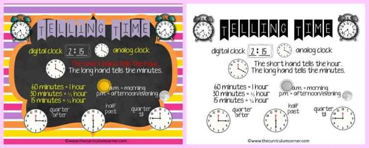 FREE Telling Time Resources for 2nd Grade Math | The Curriculum Corner | Centers 6