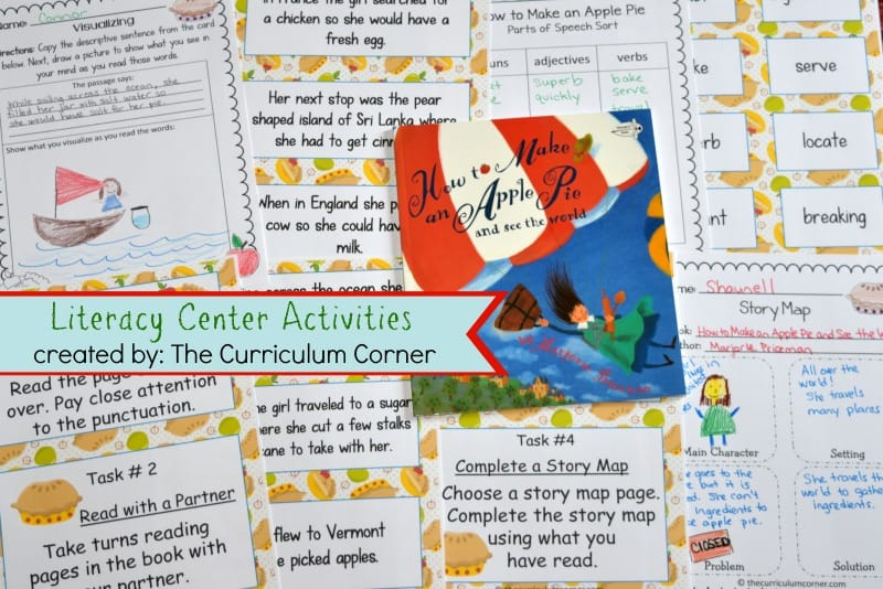 FREE Literacy Center Activities for How to Make an Apple Pie and See the World FREE from The Curriculum Corner