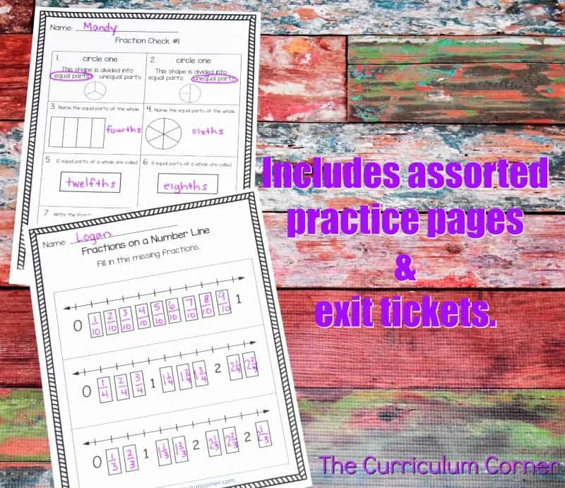Understanding Fractions FREE from The Curriculum Corner | practice pages, assessments,exit tickets, instructional powerpoint