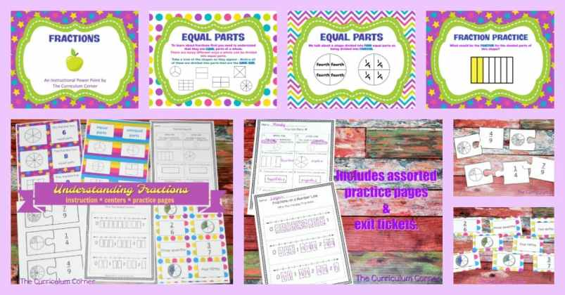 Understanding Fractions FREE from The Curriculum Corner | practice pages, assessments,exit tickets, instructional powerpoint 7