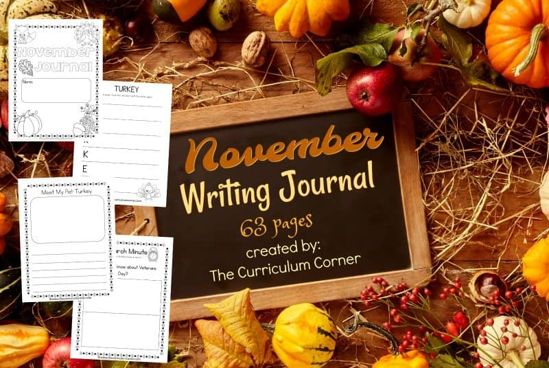 This November writing journal is designed for your primary classroom. Free from The Curriculum Corner. 63 page collection!