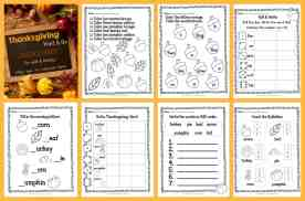 Thanksgiving Print & Go Pages for Math & Literacy FREE from The Curriculum Corner