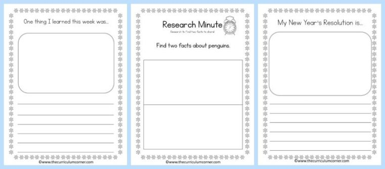 FREE January Journal for Writing from The Curriculum Corner
