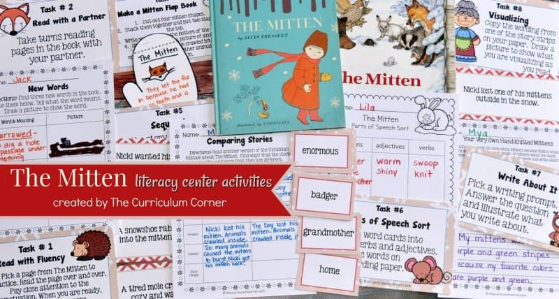 photo regarding The Mitten Printable Book titled Guide Review: The Mitten - The Curriculum Corner 123