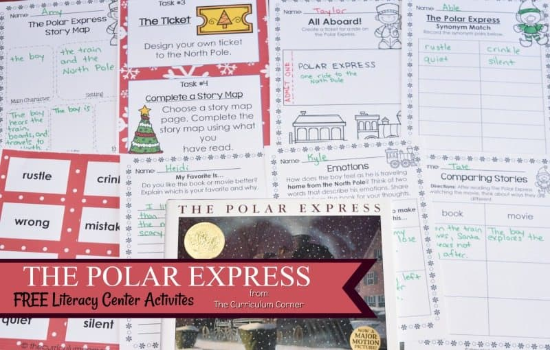 The Polar Express Literacy Center Activities free from The Curriculum Corner - December book study practice set for reading workshop