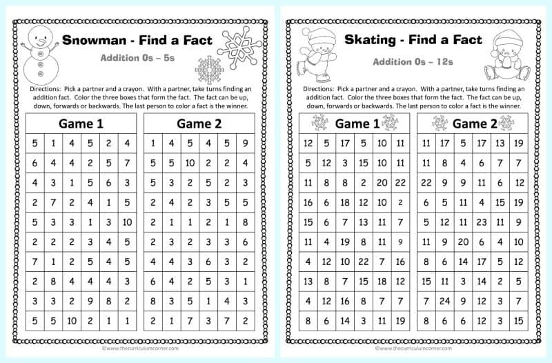Winter Addition Practice Game 2