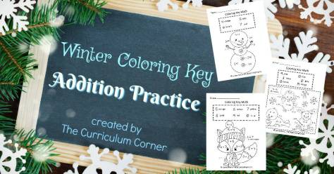 Winter Coloring Key Addition ( Color by Number)