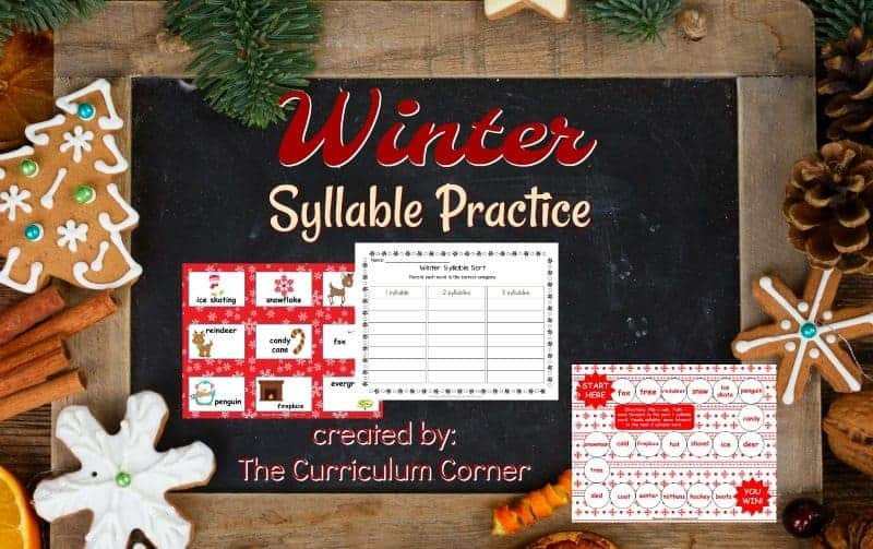 This set of resources for winter syllable practice is designed to be a quick to assemble resource for winter.