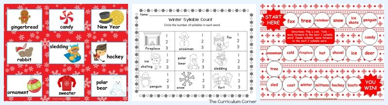 This set of resources for winter syllable practice is designed to be a quick to assemble resource for winter 2