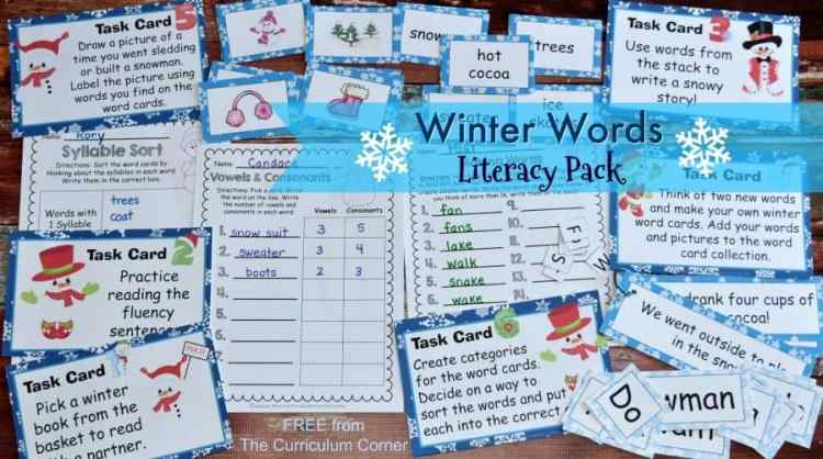 This winter word work set is the perfect seasonal word work for this time of year! FREE from The Curriculum Corner