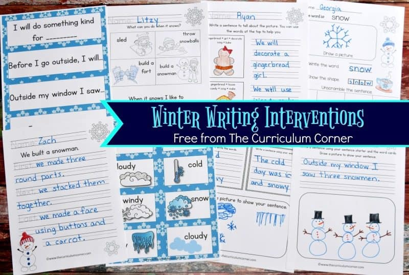 These winter writing interventions are designed to help you with those students that require a little prompting during writing FREE