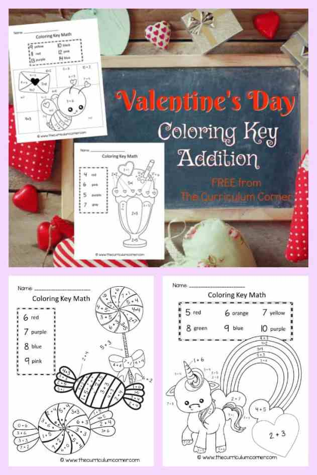 Valentine's Day Color By Number Key Math 2