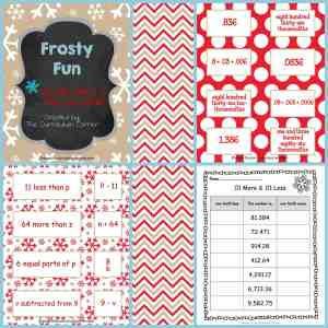Frosty Fun Math Centers for 4th and 5th grades