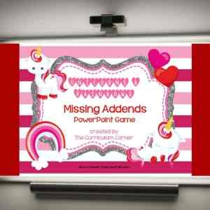 Use this unicorn missing addends game for PowerPoint to give your students practice with recalling basic facts. Designed with Valentine's Day theme.