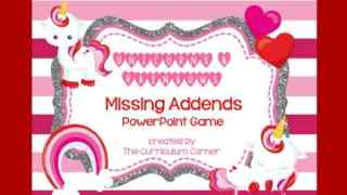 Missing Addends Unicorn PowerPoint Game