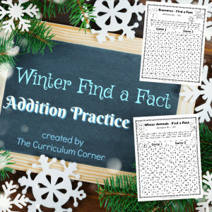 FREE Winter Find a Fact Addition Practice