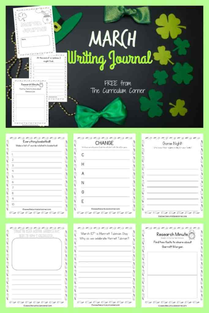 This March journal is designed for your primary classroom. Use the pages to create journals or individually for March writing prompts.