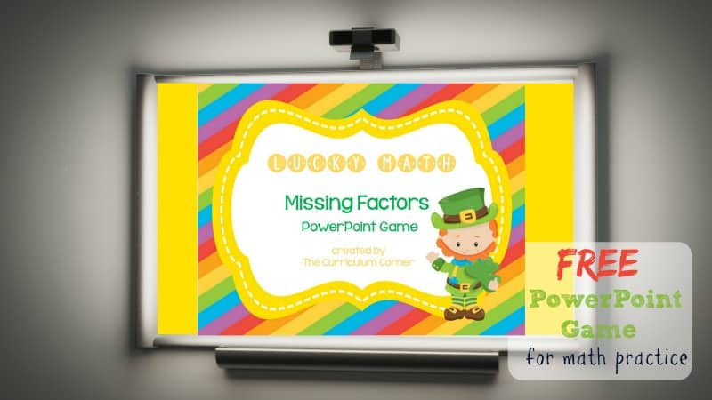 Use this lucky missing factors game for PowerPoint to give your students practice with recalling basic multiplication facts. Designed with a St. Patrick's Day theme.