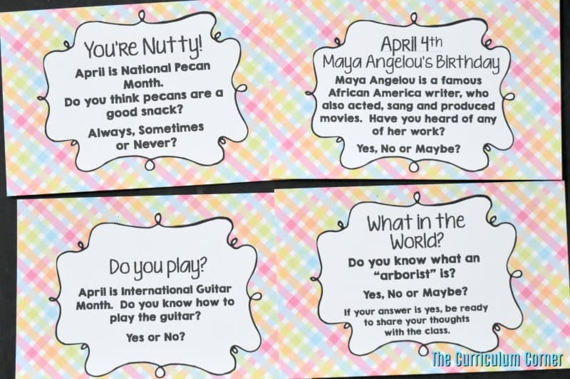 FREE April Bell Ringers from The Curriculum Corner 2