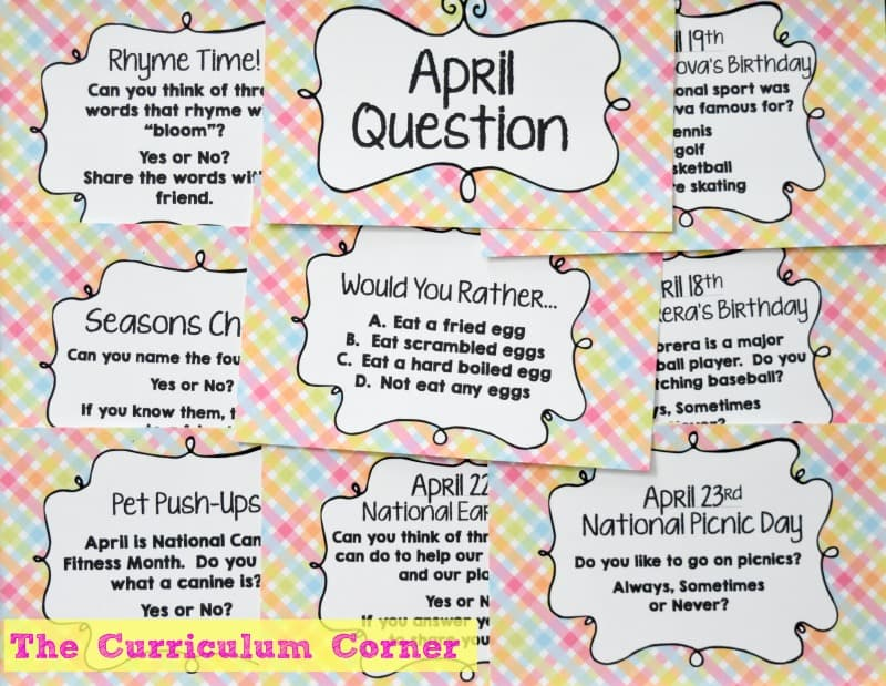 FREE April Bell Ringers from The Curriculum Corner