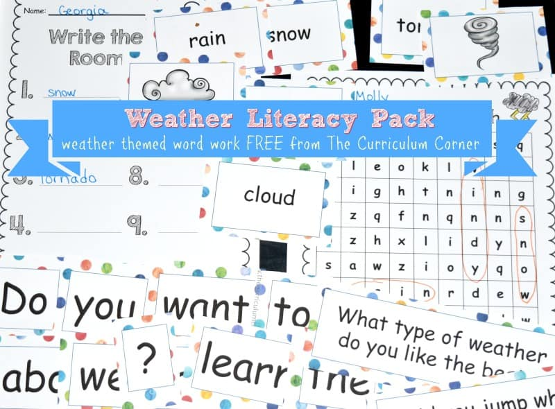 This free weather word work collection is a literacy set that has been created to fit into your classroom weather study.
