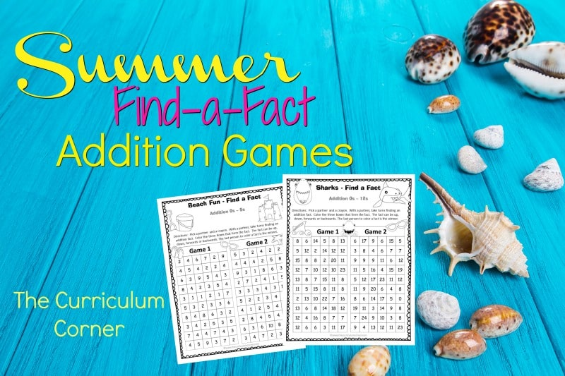 Summer Find a Fact Addition - The Curriculum Corner 123