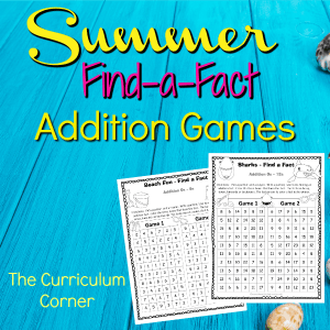 Summer Find a Fact Addition Games 2