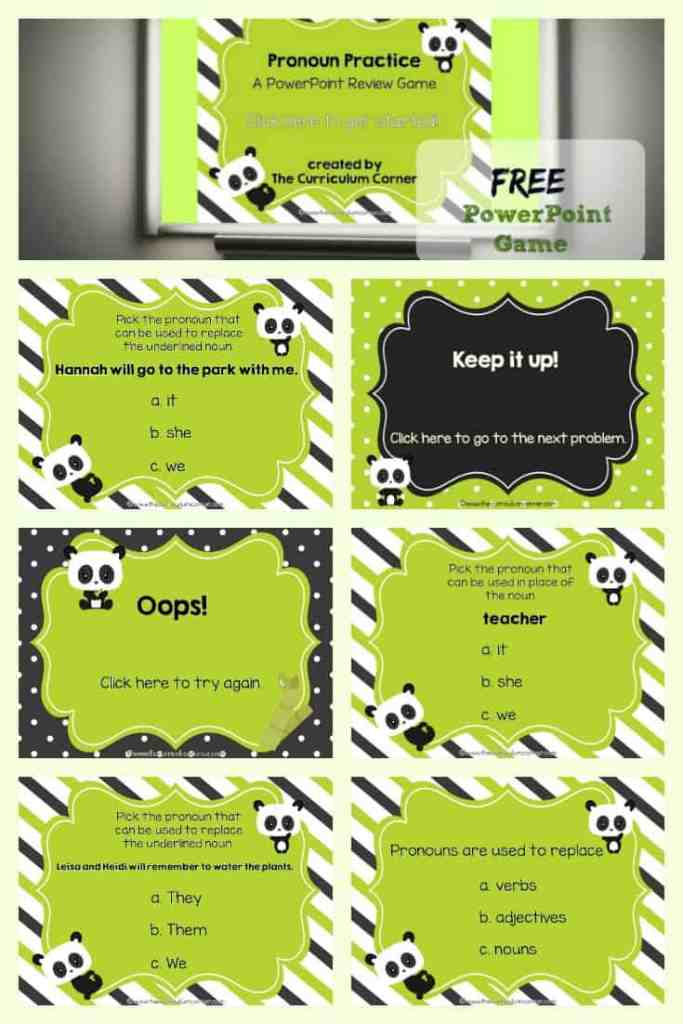 FREE Pronoun PowerPoint game from The Curriculum Corner
