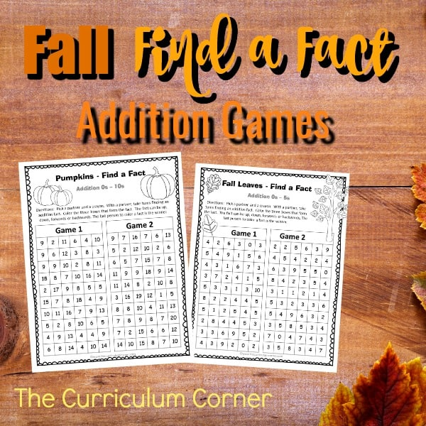 Fall Find a Fact Addition Games
