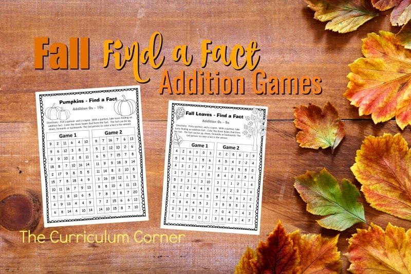 These fall addition fact practice games are designed to offer basic fact practice in a fun and engaging format!