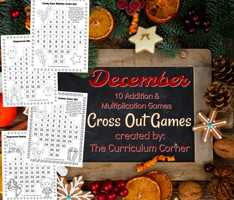 These free December Addition & Multiplication Cross Out Games are a fun addition to your December math games.