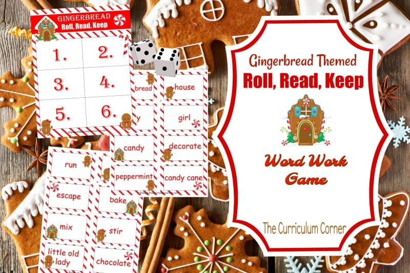 Create an engaging literacy center with this Gingerbread Roll Read Keep game,a free classroom resource from The Curriculum Corner.