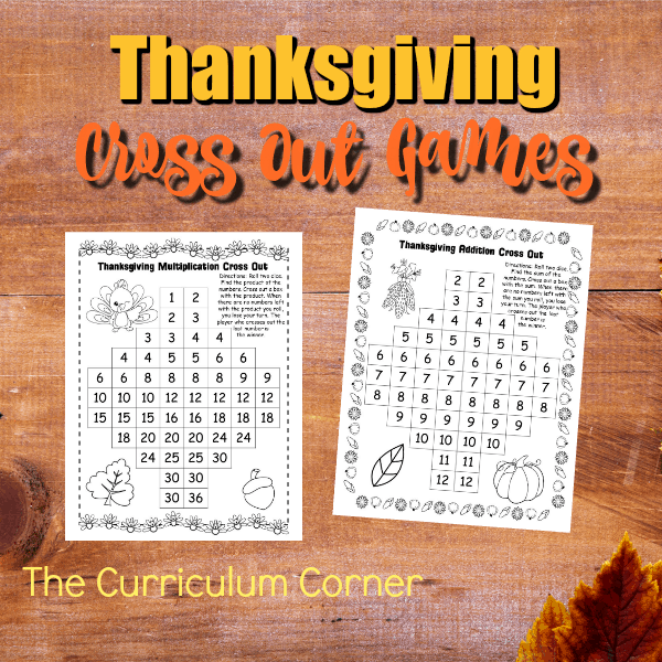 Thanksgiving Addition & Multiplication Cross Out