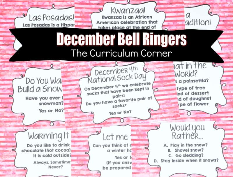 This collection of December Bell Ringer Questions is meant to help you engage your students in a simple, but meaningful morning routine.