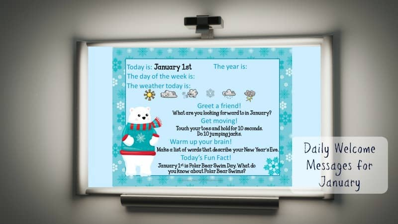 This set of free January Daily Welcome Messages is an easy way to get your students to enter the classroom and focus on the day ahead.