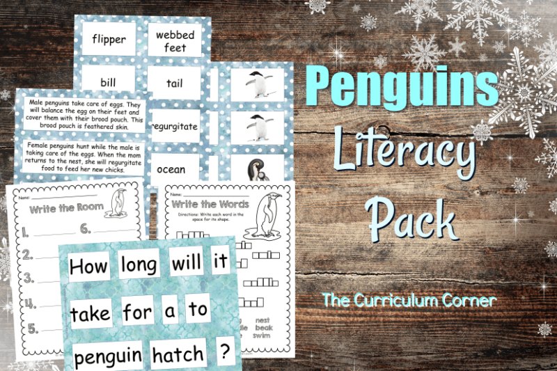 This penguin word work set is the perfect literacy center set for your classroom! Free literacy center activities from The Curriculum Corner.