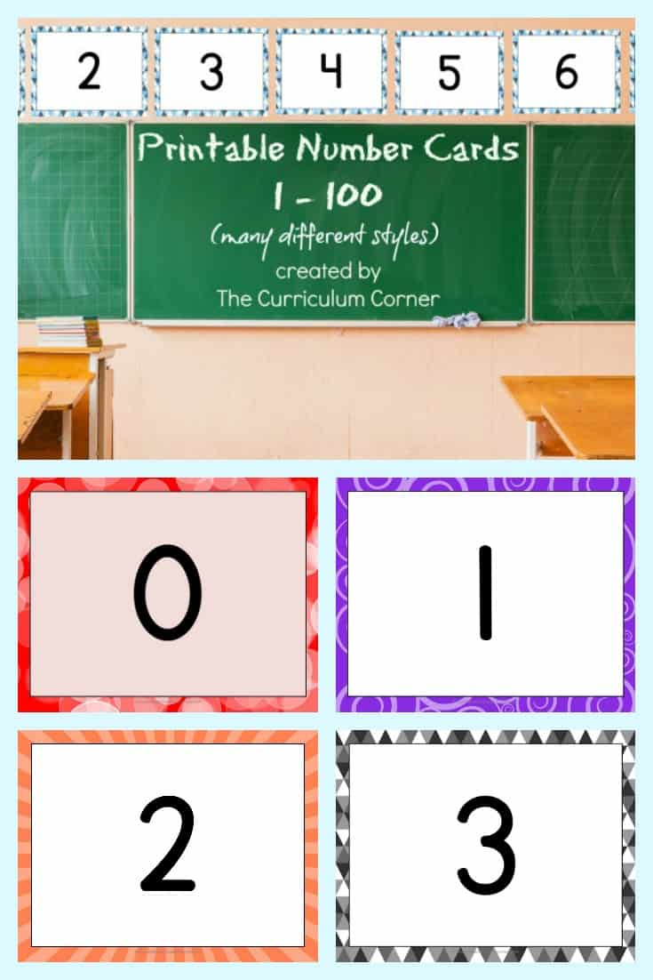 picture about Printable Number Line to 100 titled Printable Quantity Playing cards (0-100) - The Curriculum Corner 123