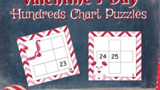 Valentine Hundreds Chart Puzzles
