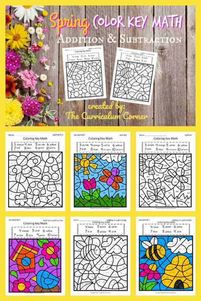 Spring Color Key Set 2 (add / subtract) - The Curriculum