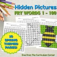 Spring Fry Word Hidden Pictures (Words 1 - 100)