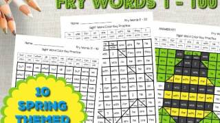 Spring Fry Word Hidden Pictures (Words 1 - 100)