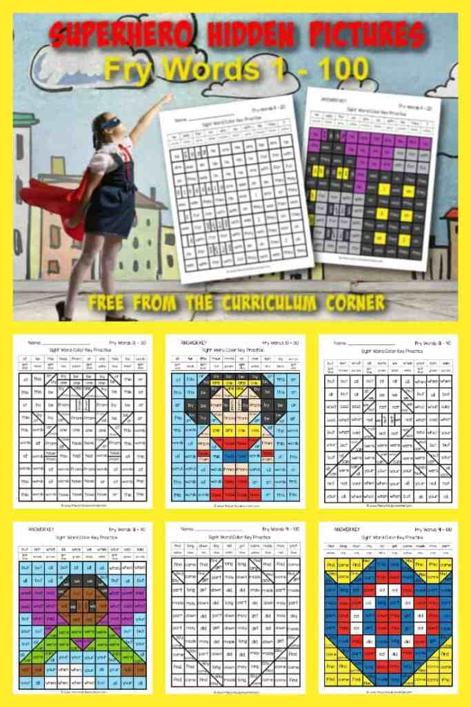 Practice sight words with these free Superhero Fry Word Hidden Pictures (for words 1 - 100). Another free resource for teachers from The Curriculum Corner.