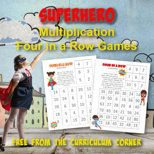 Give your superhero fans some math fact practice with these free superhero multiplication games. created by The Curriculum Corner.
