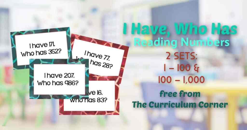 I Have Who Has Reading Numbers Games
