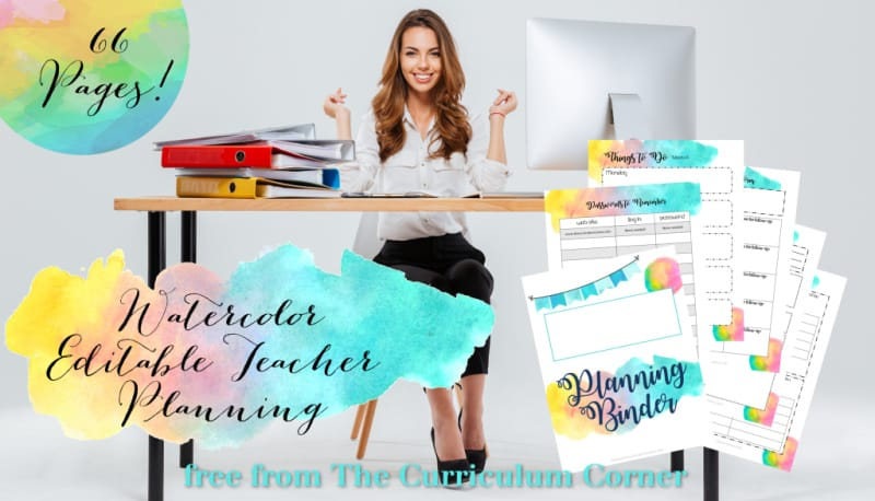 watercolor editable teacher binder