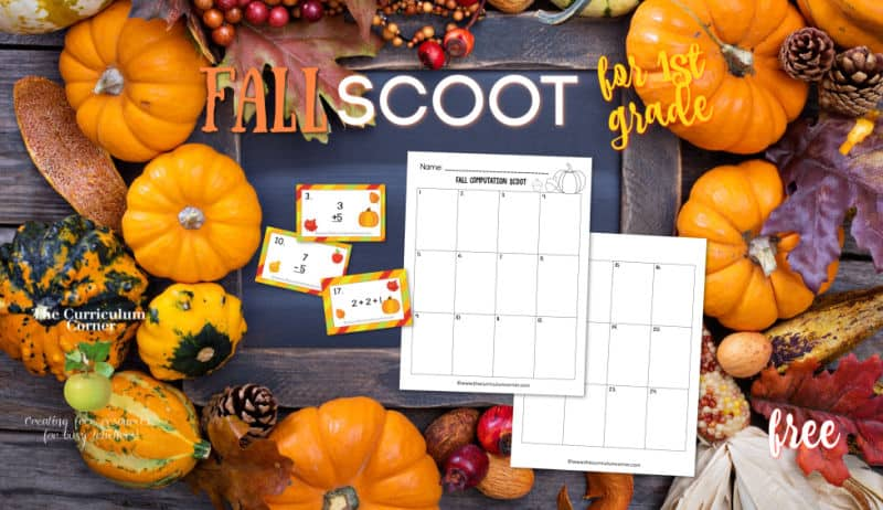 1st grade fall computation scoot