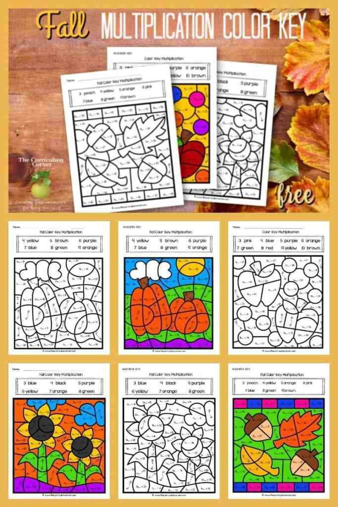 Fall Color Key Multiplication - The Curriculum Corner 123
