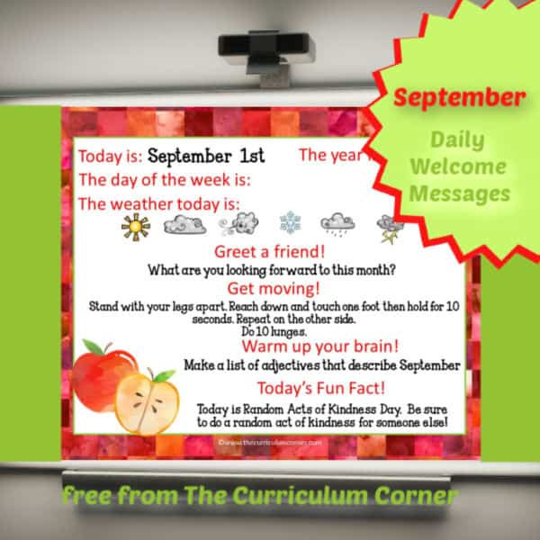 September Daily Welcome Messages