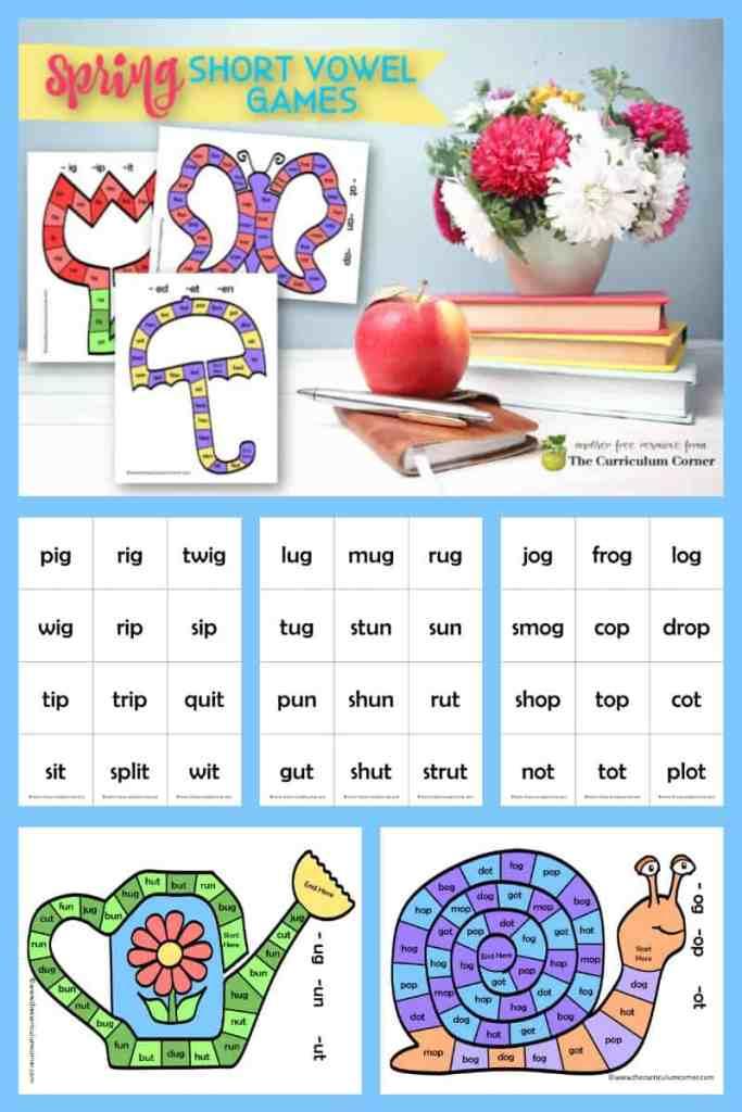 spring short vowel board games